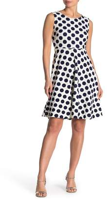 T Tahari Sleeveless Polka Dot Dress