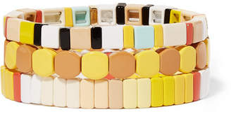 Butter Shoes Roxanne Assoulin Up Set Of Three Enamel And Gold-tone Bracelets - Yellow