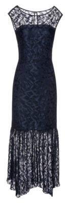 HUGO Lace maxi dress with plisse skirt detail