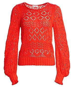 See by Chloe Women's Cotton Lacey Eyelet Knit Sweater