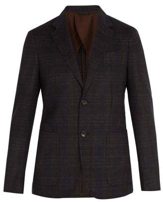 Ermenegildo Zegna Single Breasted Checked Wool Blazer - Mens - Navy Multi
