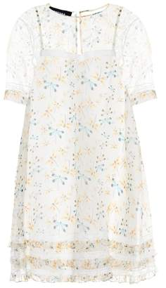 Rochas Lace-trimmed silk dress