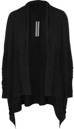Rick Owens Draped Ribbed Wool Cardigan - Black