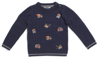 Toddler Boys Construction Sweater With Elbow Patches