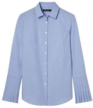 Banana Republic Petite Riley Tailored-Fit Stripe Pleated-Sleeve Shirt