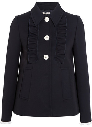 Broderie Anglaise-trimmed Twill Jacket - Midnight blue