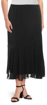 Alex Evenings Plus Tea-Length Asymmetric Skirt