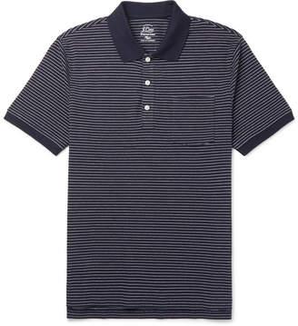 J.Crew Striped Stretch-Cotton Piqué Polo Shirt