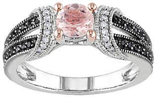 Black Diamond QVC Morganite & Split Shank Ring, Ste