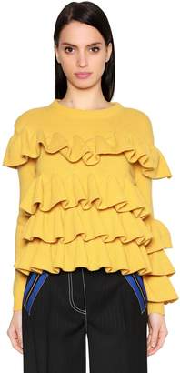 Marco De Vincenzo Ruffled Wool Knit Sweater