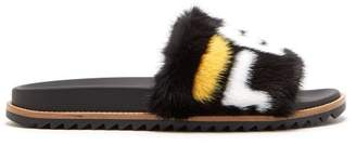 Fendi Mania Mink And Leather Slides - Mens - Black Multi
