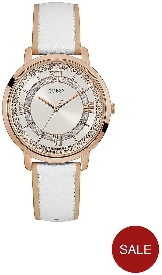 Rose Gold With White Dial And White Leather Strap Ladies Watch