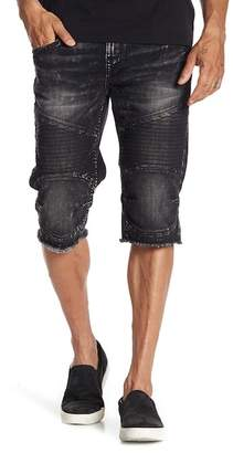 True Religion Moto Cutoff Denim Shorts
