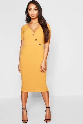 boohoo Petite Knitted Rib Wrap Bodycon Dress