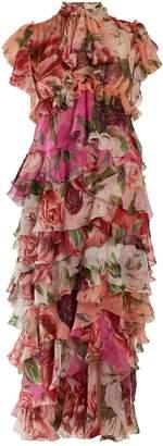 Dolce & Gabbana Peony and rose-print tiered chiffon midi dress