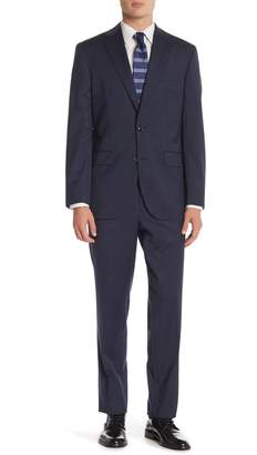 David Donahue Blue Sharkskin Two Button Notch Lapel Classic Fit Suit