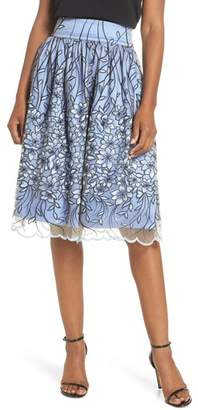 Eliza J Embroidered A-Line SKirt