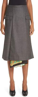 Toga Scarf Panel Wool Wrap Skirt