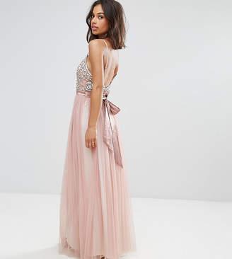 Maya Petite Cami Strap Bow Back Embellished Maxi Dress