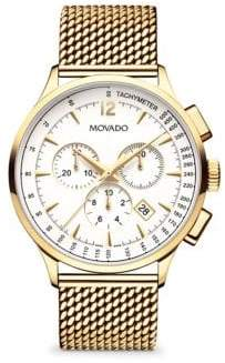 Movado Circa Stainless Steel Chronograph Watch - Ivory Gold