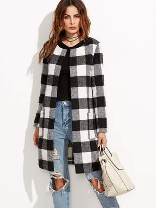 Shein Checkered Open Front Collarless Coat