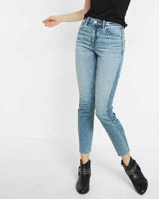 Express High Waisted Striped Stretch Super Skinny Ankle Jeans