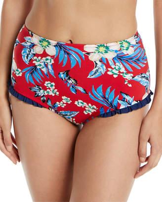 Diane von Furstenberg Cheeky Floral Ruffle High-Waist Bikini Bottom