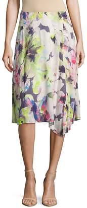 Basler Women's Floral-Print Asymmetric Ruffled Skirt