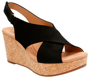 Clarks Clarks Leather Platform Wedge Sandals