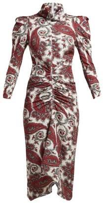 Isabel Marant Tizy Paisley Print Silk High Neck Dress - Womens - Red Multi