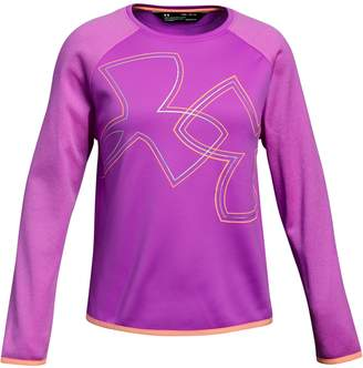 Under Armour Girl's Fleece Crew Logo Top