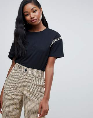 Bershka pearl and rhinestone detail tee