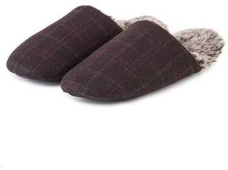 c5767b0a6c3 at Totes Isotoner · totes Mens Fur Lined Check Mule Slippers
