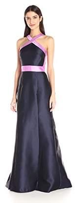 Carmen Marc Valvo Women's Mikado Color Block Halter Long Gown