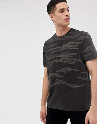 AllSaints Oversized T-Shirt With Brushed Camo Print