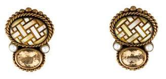 Stephen Dweck Pearl & Citrine Inlay Clip-On Earrings