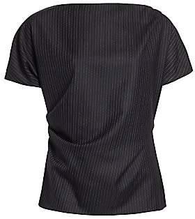 Dries Van Noten Women's Short-Sleeve Wool Pinstripe Top
