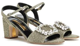 Rupert Sanderson Opal embellished lamé sandals