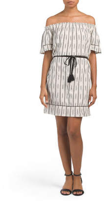 Linen Off The Shoulder Ikat Dress