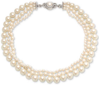 Carolee Silver-Tone Crystal & Imitation Pearl Triple-Row Magnetic Necklace