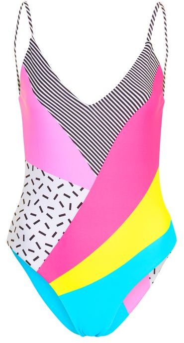 TopshopTopshop '80s patchwork swimsuit