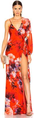 Mason by Michelle Mason Asymmetrical Wrap Gown in Cayenne Print | FWRD