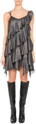 Neiman Marcus Pascal Millet Metallic Ruffle-Trim Strappy Minidress, Silver