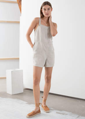 And other stories Linen Blend Romper Overall