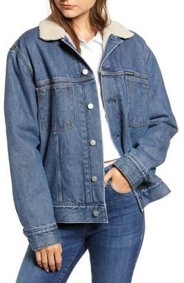 Calvin Klein Jeans Fleece Lined Denim Trucker Jacket