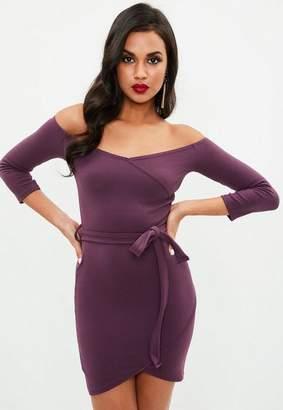 Missguided Plum Long Sleeve Wrap Front Tie Mini Dress, Plum