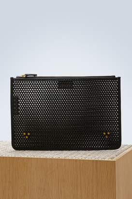 Jerome Dreyfuss Popoche M perforated calfskin clutch