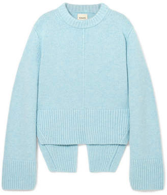 Khaite - Virginia Asymmetric Cashmere Sweater - Sky blue