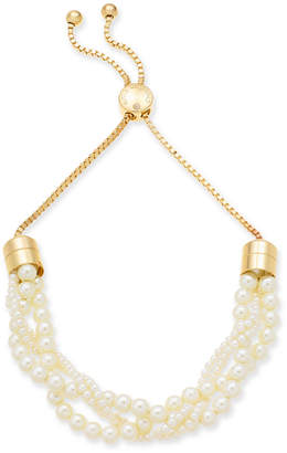 "Charter Club Gold-Tone Imitation Pearl Multi-Strand 11"" Slider Necklace"