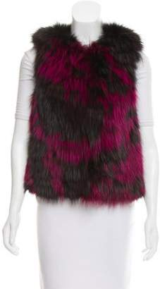 Brandon Sun Leather-Trimmed Fur Vest